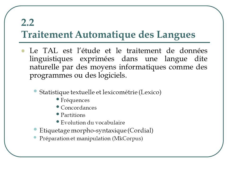 2.2 Traitement Automatique des Langues