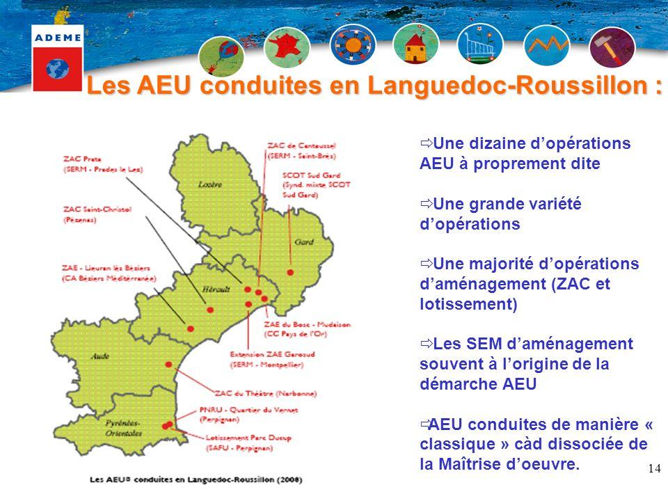 Les AEU conduites en Languedoc-Roussillon :