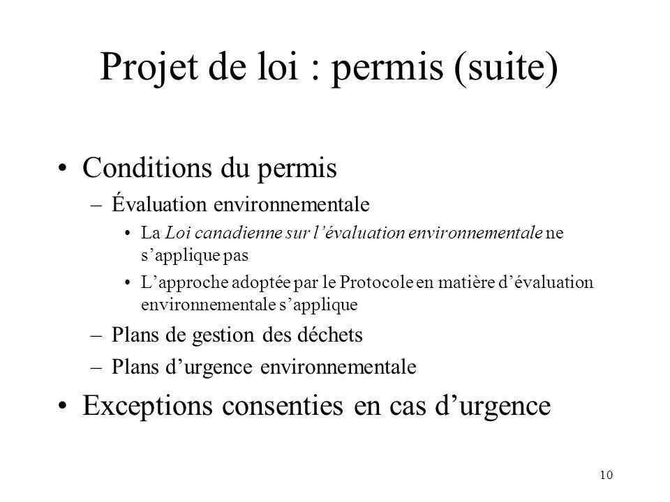 Projet de loi : permis (suite)