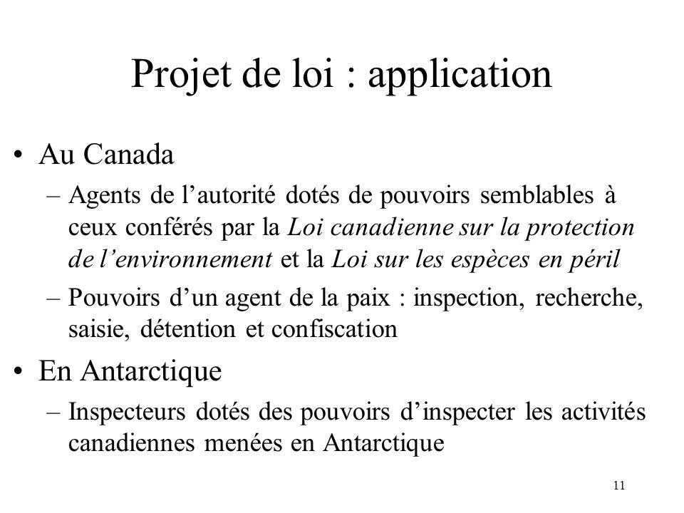 Projet de loi : application