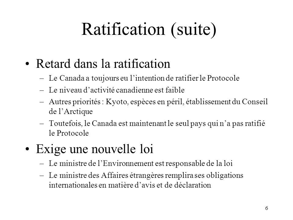 Ratification (suite) Retard dans la ratification