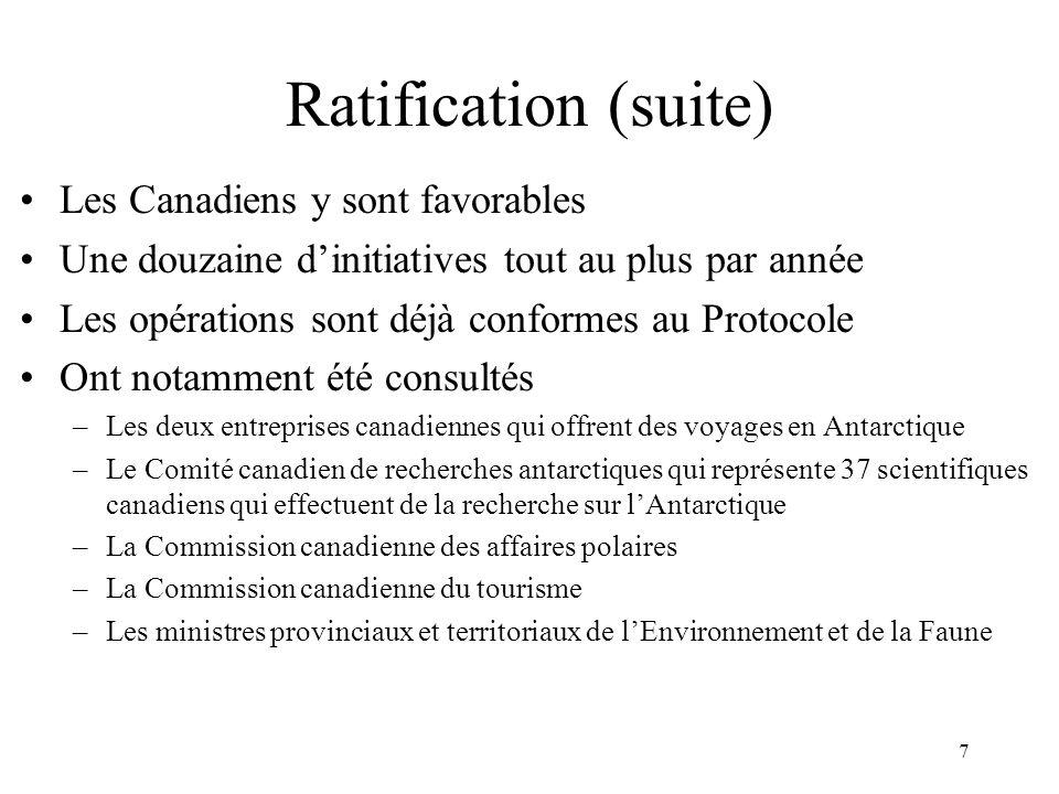 Ratification (suite) Les Canadiens y sont favorables