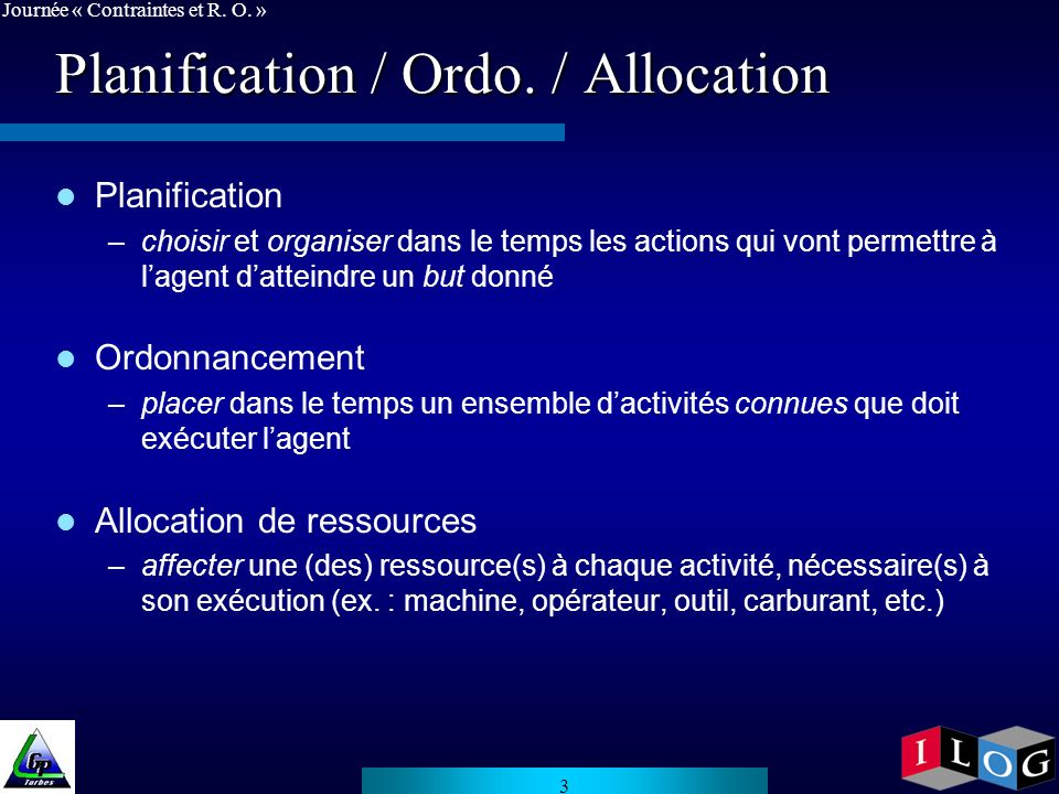 Planification / Ordo. / Allocation