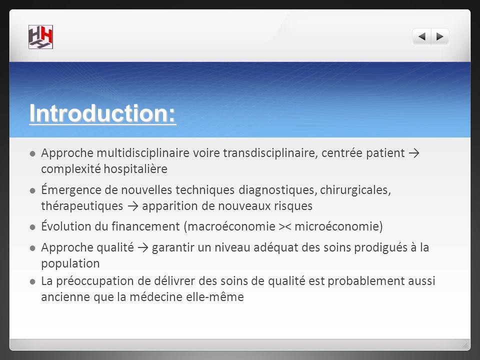 Introduction: Approche multidisciplinaire voire transdisciplinaire, centrée patient → complexité hospitalière.
