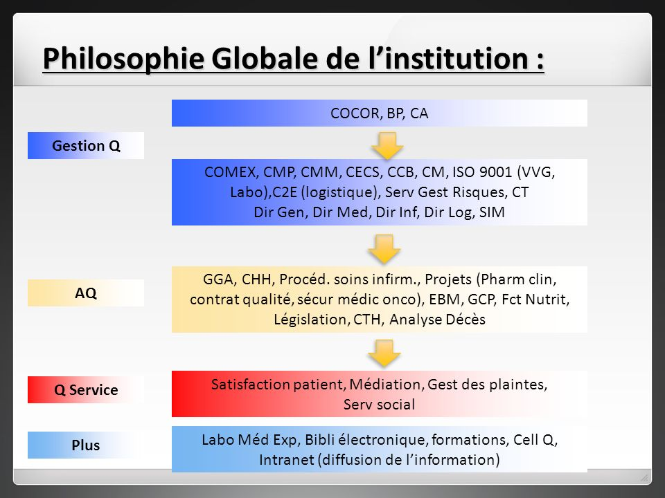 Philosophie Globale de l'institution :