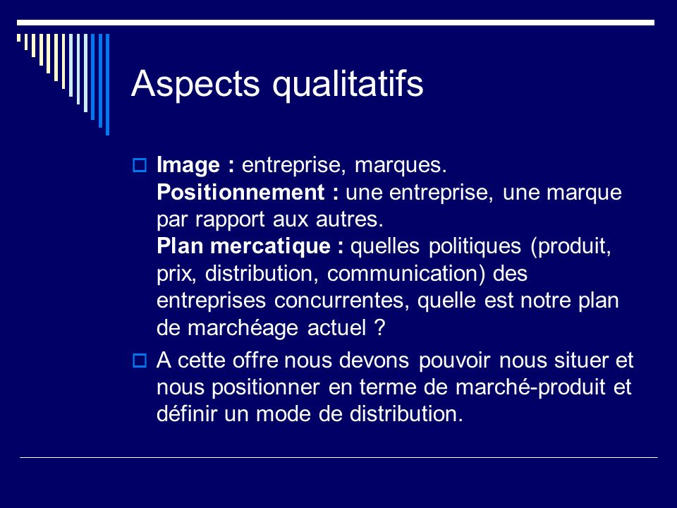 Aspects qualitatifs