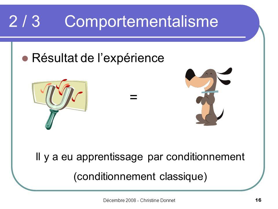 2 / 3 Comportementalisme = Résultat de l'expérience