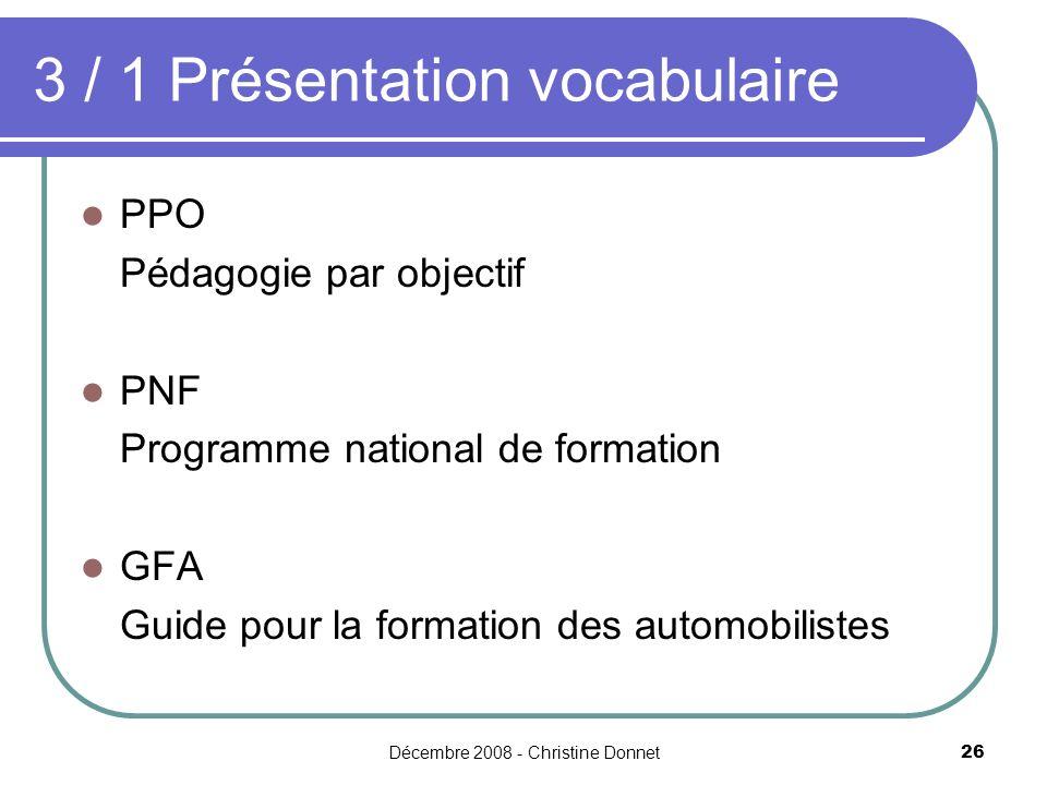 3 / 1 Présentation vocabulaire