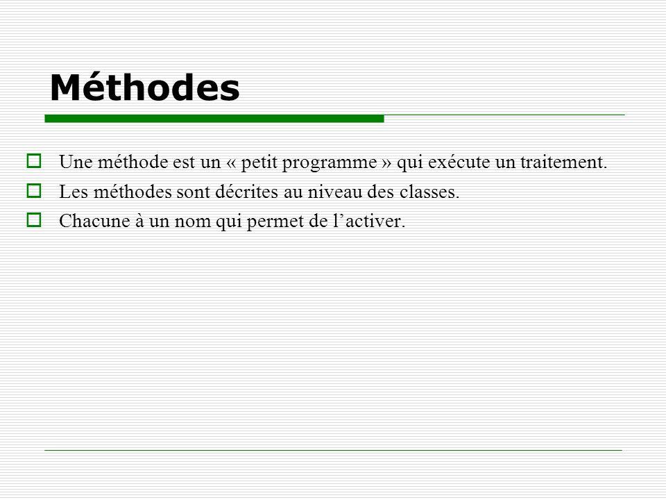 Méthodes Une méthode est un « petit programme » qui exécute un traitement. Les méthodes sont décrites au niveau des classes.