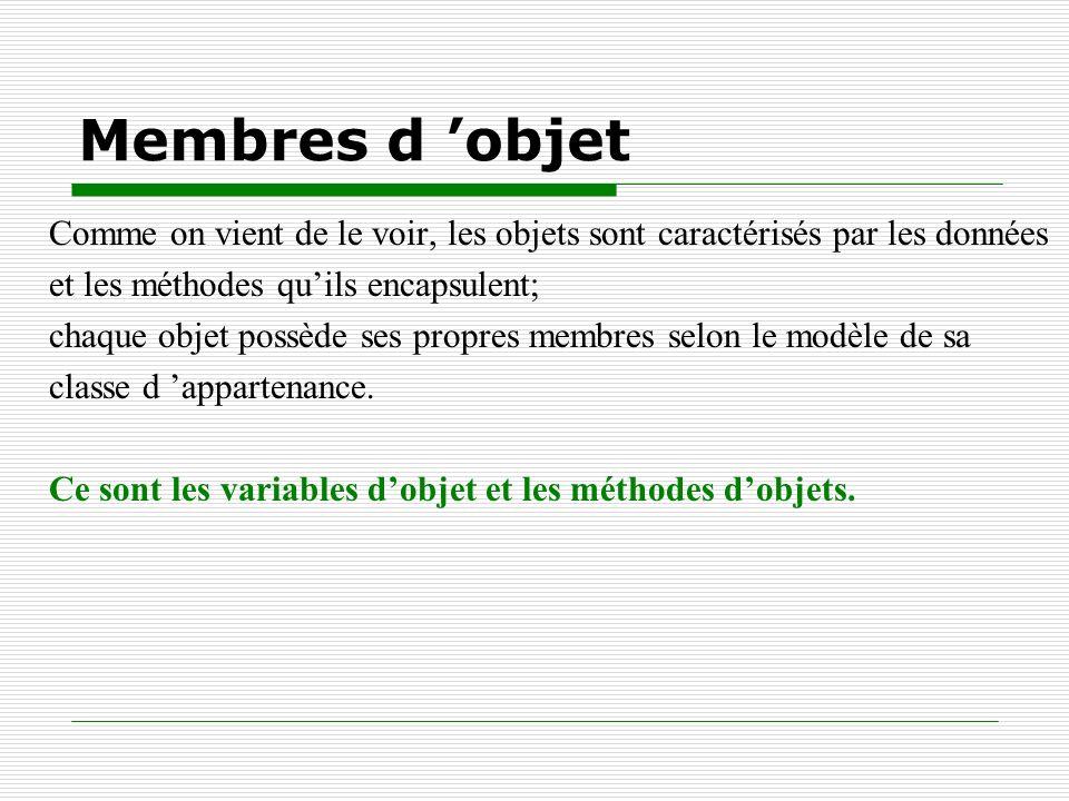 Membres d 'objet Comme on vient de le voir, les objets sont caractérisés par les données. et les méthodes qu'ils encapsulent;