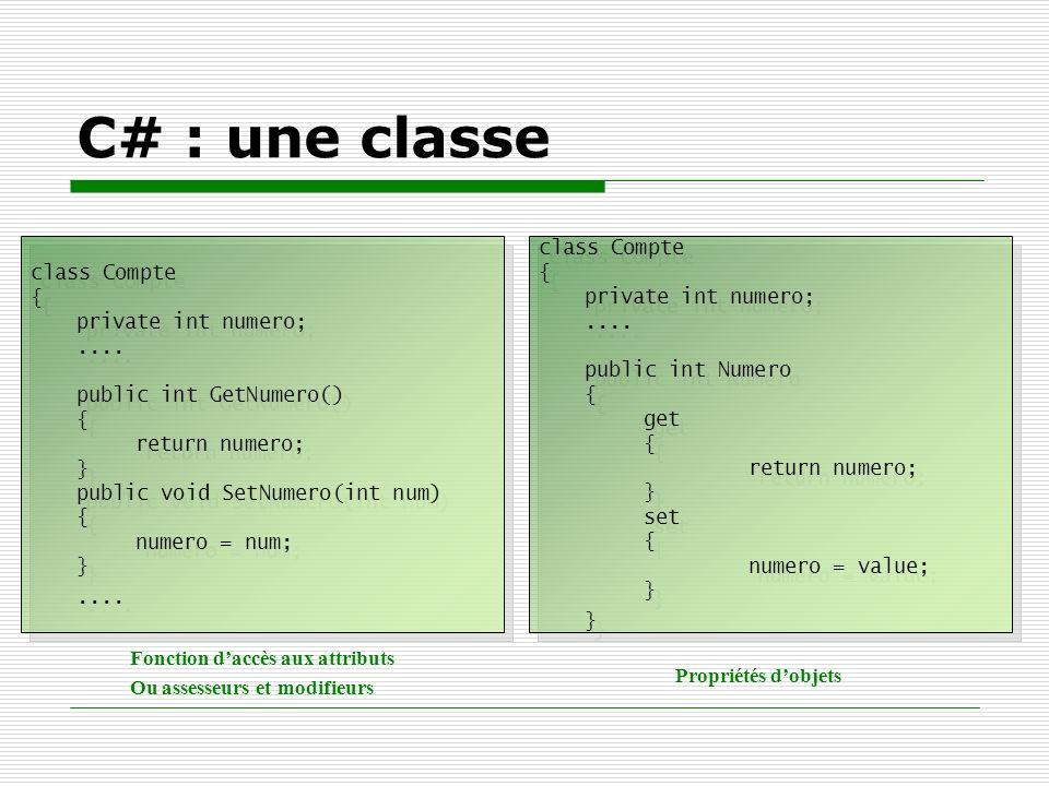C# : une classe class Compte { private int numero; ....