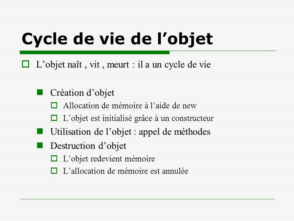Cycle de vie de l'objet L'objet naît , vit , meurt : il a un cycle de vie. Création d'objet. Allocation de mémoire à l'aide de new.