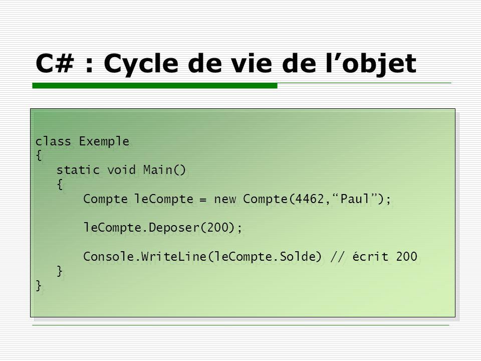 C# : Cycle de vie de l'objet