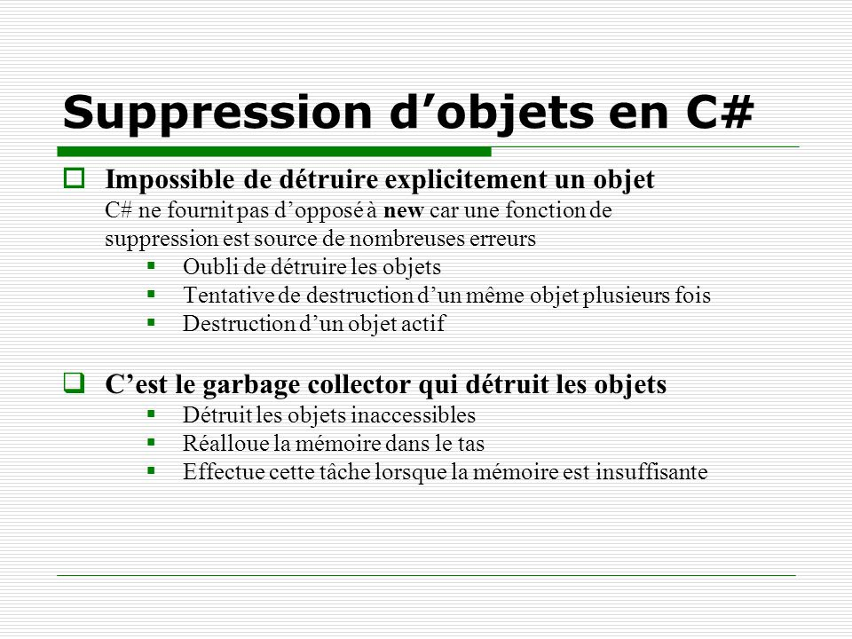 Suppression d'objets en C#