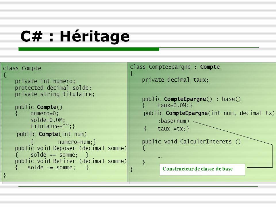 C# : Héritage class CompteEpargne : Compte class Compte { {
