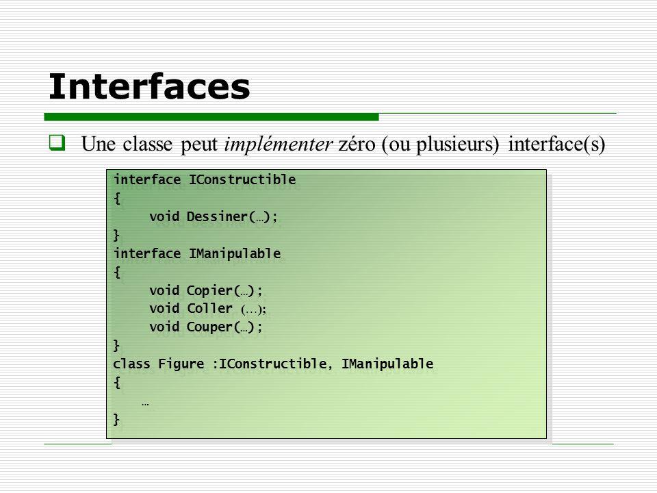 Interfaces Une classe peut implémenter zéro (ou plusieurs) interface(s) interface IConstructible. {