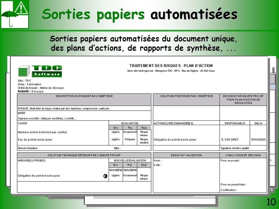 Sorties papiers automatisées