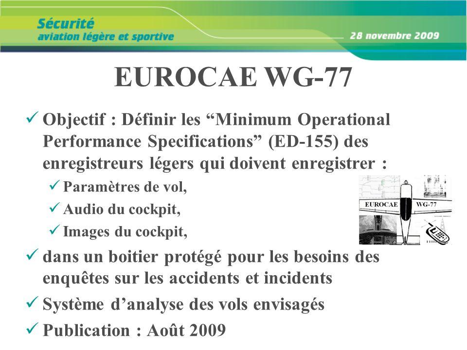EUROCAE WG-77 Objectif : Définir les Minimum Operational Performance Specifications (ED-155) des enregistreurs légers qui doivent enregistrer :