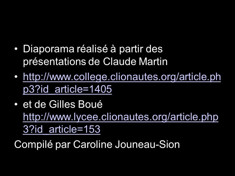 Diaporama réalisé à partir des présentations de Claude Martin