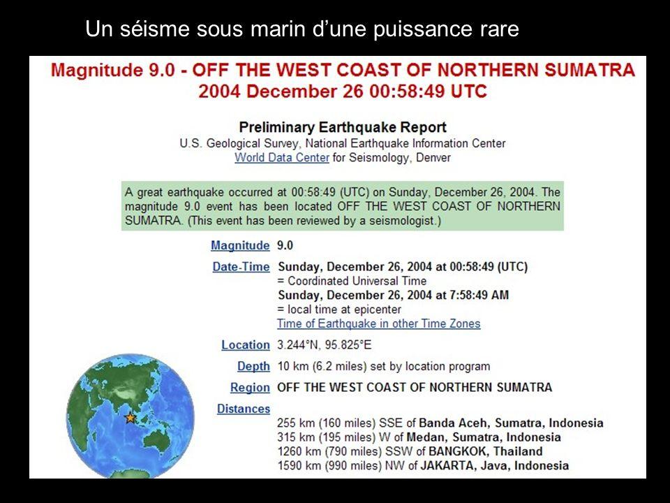 Un séisme sous marin d'une puissance rare