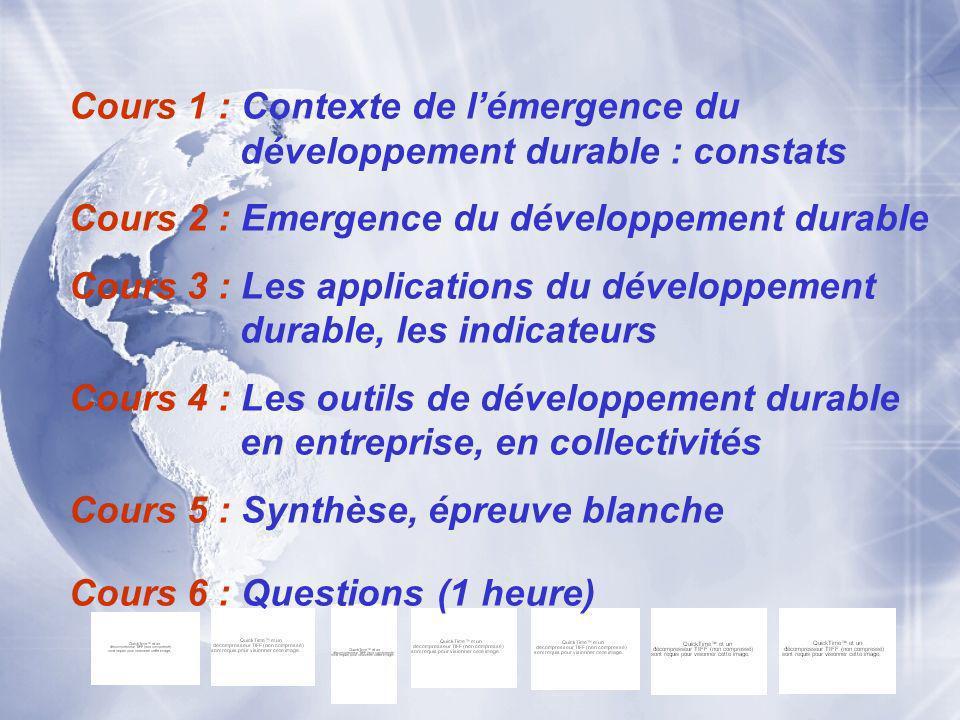 Cours 1 : Contexte de l'émergence du développement durable : constats