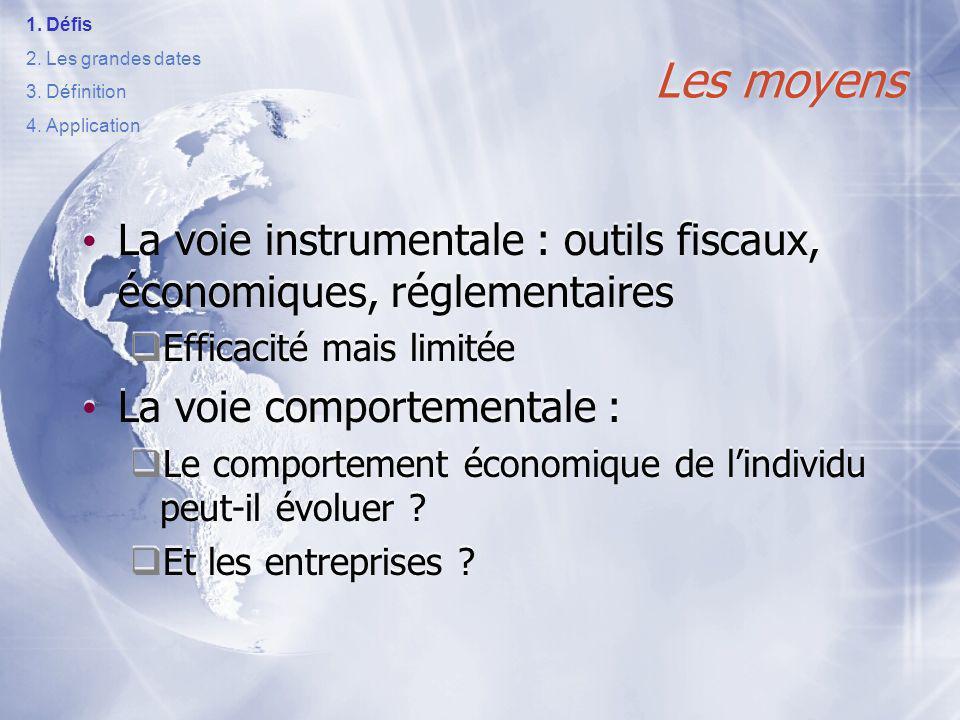 Défis Les grandes dates. Définition. Application. Les moyens. La voie instrumentale : outils fiscaux, économiques, réglementaires.