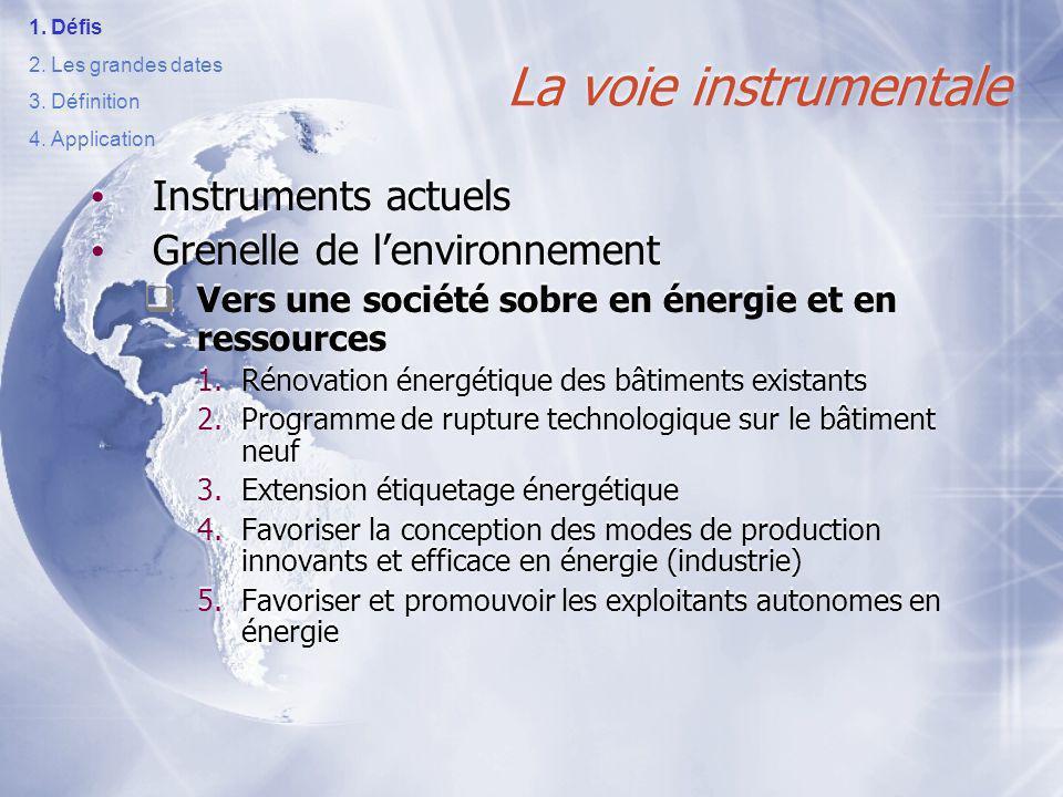 La voie instrumentale Instruments actuels Grenelle de l'environnement