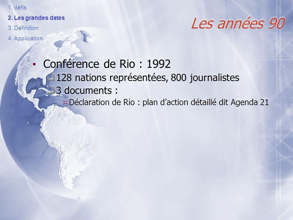 Les années 90 Conférence de Rio : 1992