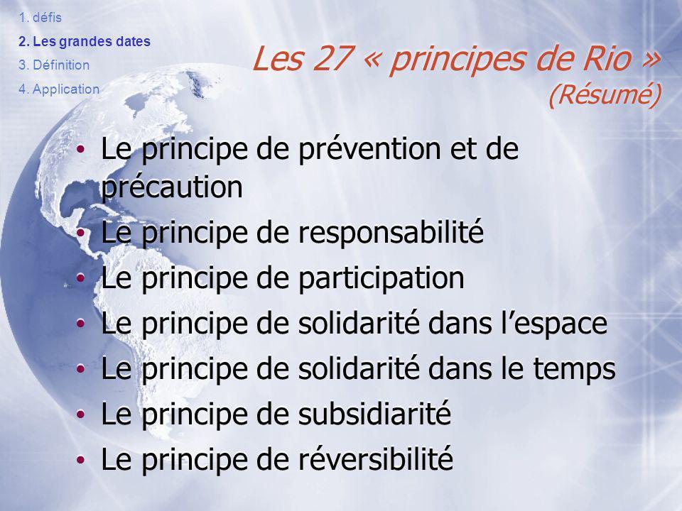 Les 27 « principes de Rio » (Résumé)