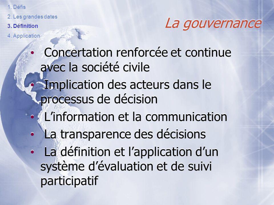 Défis Les grandes dates. Définition. Application. La gouvernance. Concertation renforcée et continue avec la société civile.