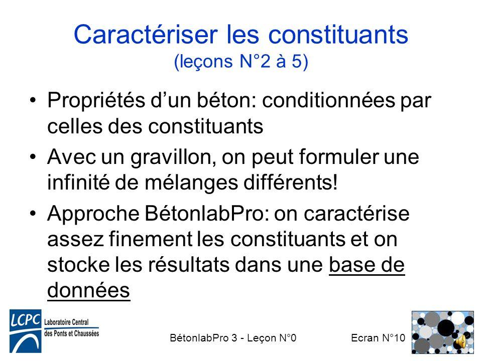 Caractériser les constituants (leçons N°2 à 5)