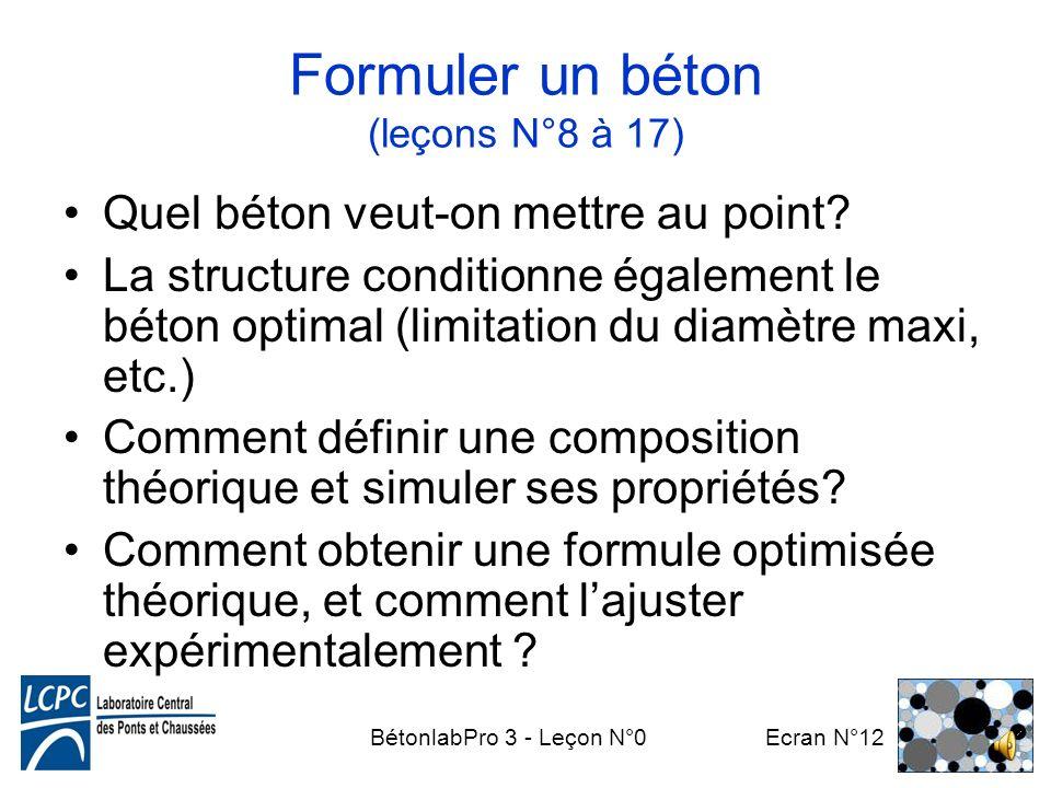 Formuler un béton (leçons N°8 à 17)