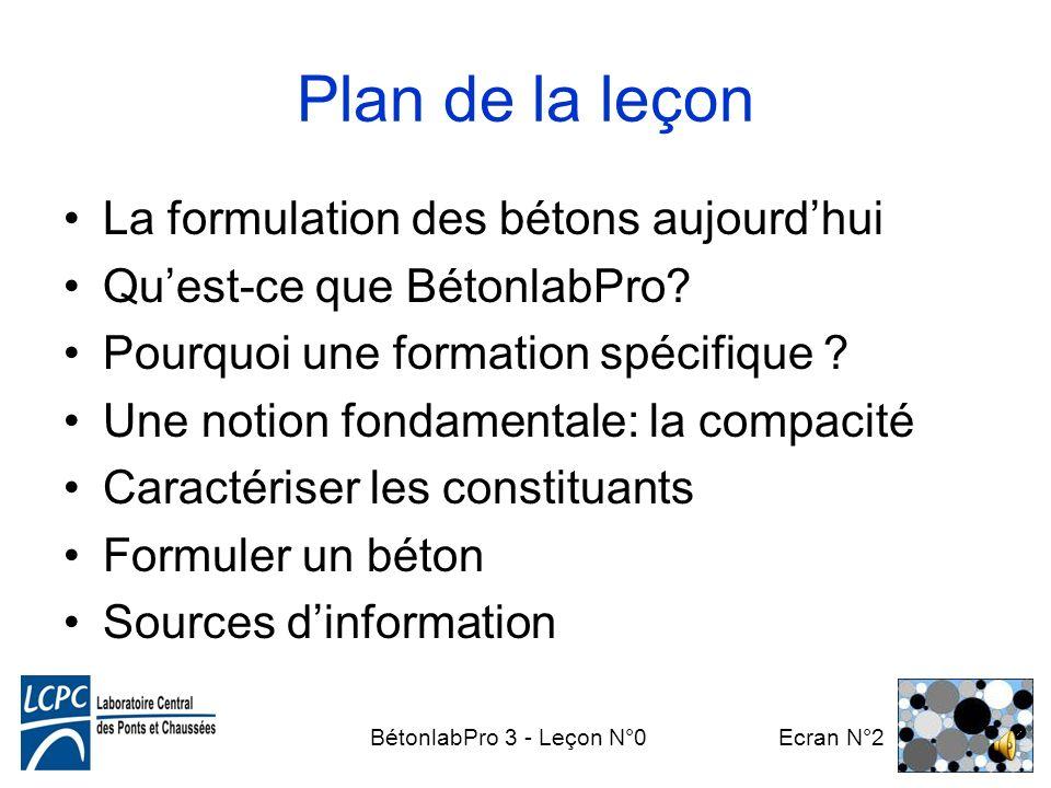 Plan de la leçon La formulation des bétons aujourd'hui