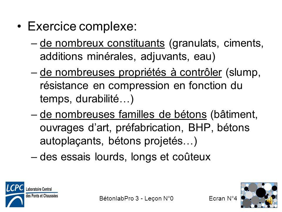 Exercice complexe: de nombreux constituants (granulats, ciments, additions minérales, adjuvants, eau)