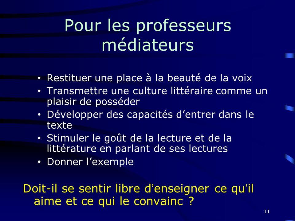 Pour les professeurs médiateurs