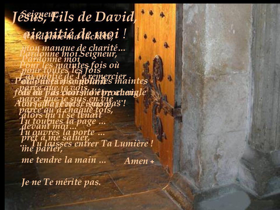 Jésus, Fils de David, aie pitié de moi ! Seigneur,