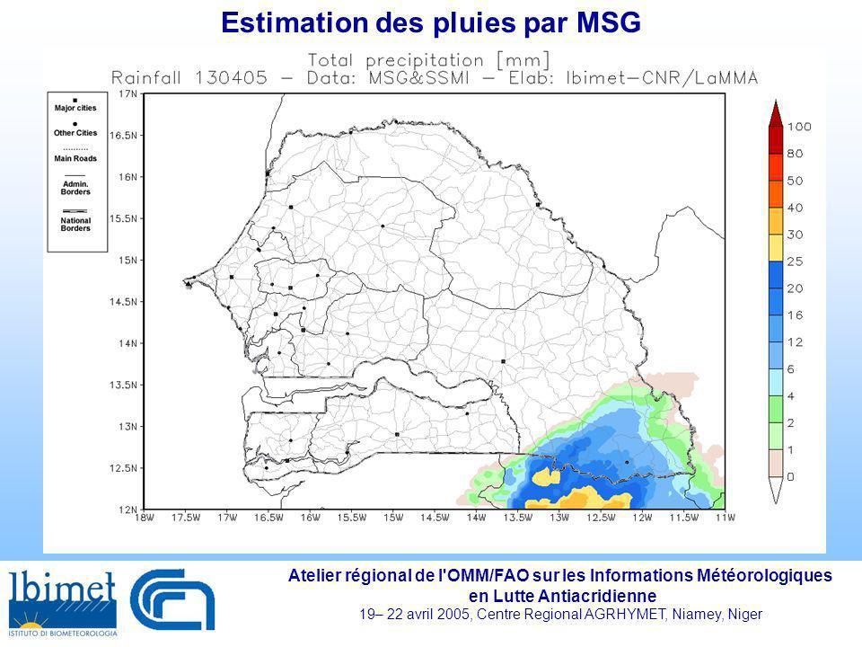 Estimation des pluies par MSG