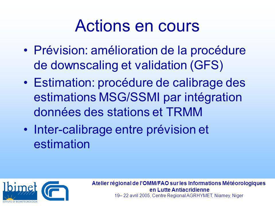Actions en cours Prévision: amélioration de la procédure de downscaling et validation (GFS)