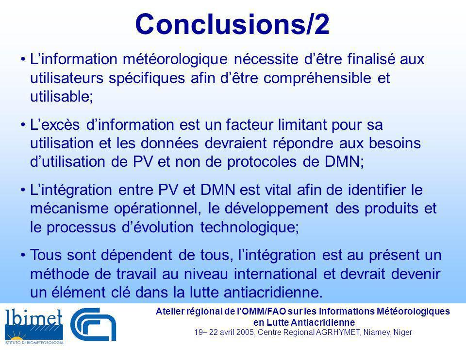 Conclusions/2 L'information météorologique nécessite d'être finalisé aux utilisateurs spécifiques afin d'être compréhensible et utilisable;
