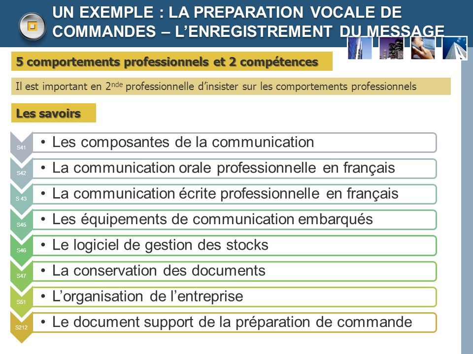UN EXEMPLE : LA PREPARATION VOCALE DE