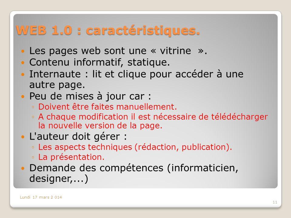WEB 1.0 : caractéristiques.
