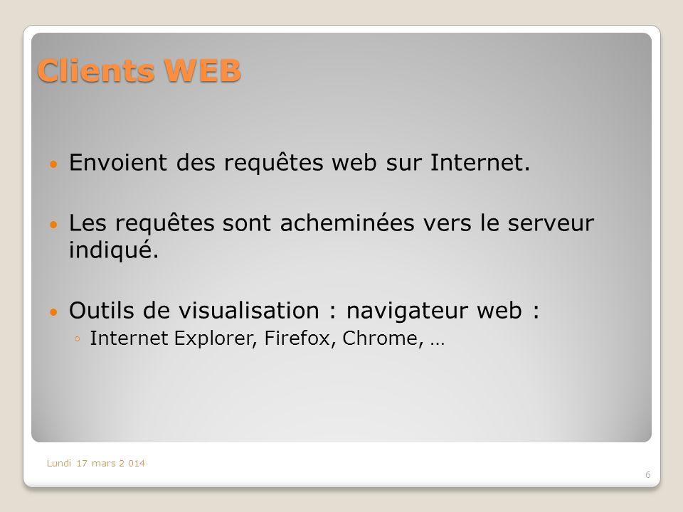 Clients WEB Envoient des requêtes web sur Internet.