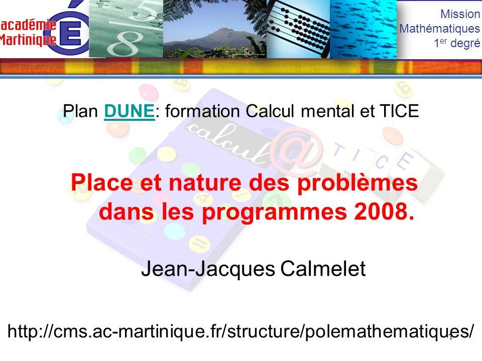 Place et nature des problèmes dans les programmes 2008.
