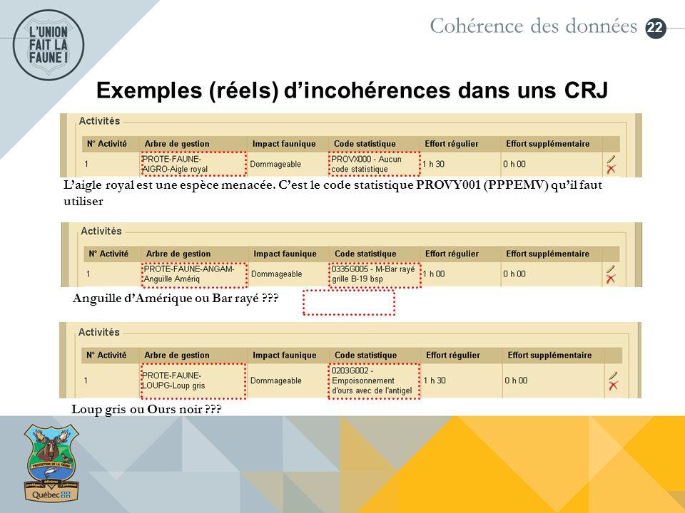 Exemples (réels) d'incohérences dans uns CRJ