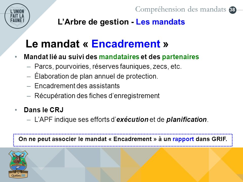 Le mandat « Encadrement »