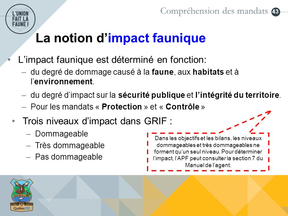 La notion d'impact faunique