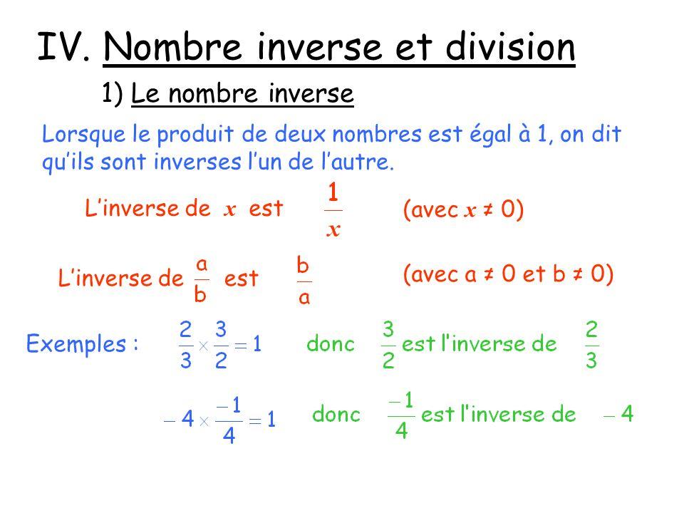 IV. Nombre inverse et division