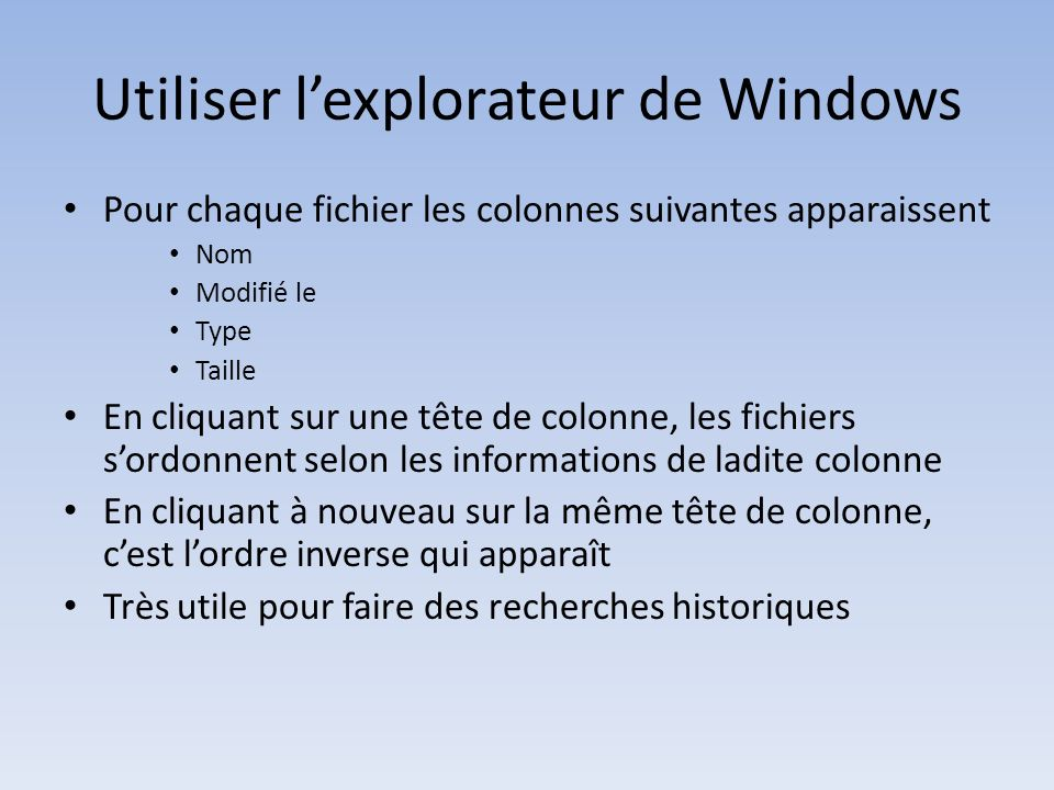 Utiliser l'explorateur de Windows
