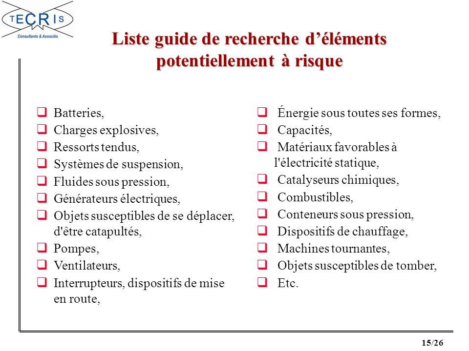 Liste guide de recherche d'éléments potentiellement à risque