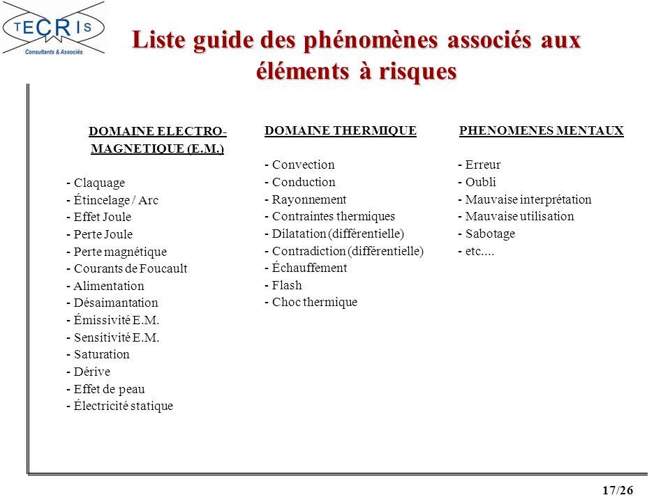 Liste guide des phénomènes associés aux éléments à risques